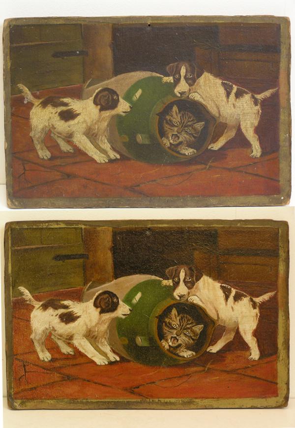 Schilderij op karton hondjes en poes