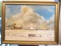 Winterlandschap met kerk door Hindrik